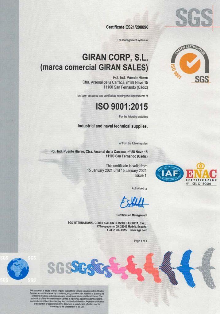 Certificado ISO 90012015 Giran Sales